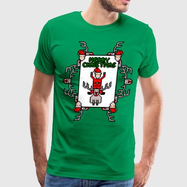 Merry Christmas Santa and Rudolph - Men's Premium T-Shirt