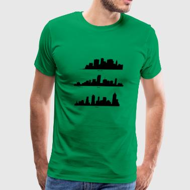 New York, Miami and Atlanta Skyline - Men's Premium T-Shirt