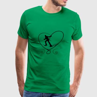 Ice skaters blue heart with scratches on ice - Men's Premium T-Shirt