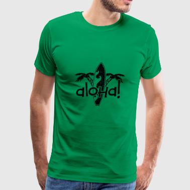 Aloha Palm Trees and Surf Board - Men's Premium T-Shirt