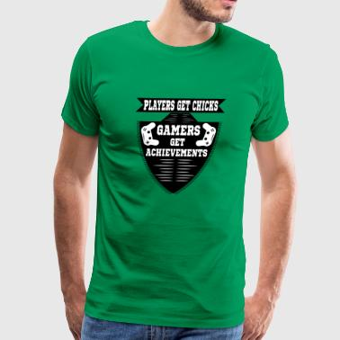 Players get chicks gamers get achivements - Men's Premium T-Shirt