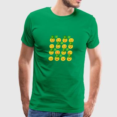 Emoj With Green Hats Shamrocks St Patricks Day - Men's Premium T-Shirt