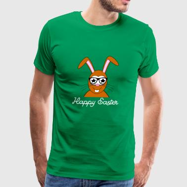 Happy Easter funny disco bunny with glasses - Men's Premium T-Shirt