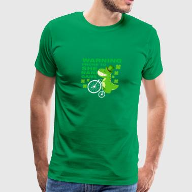 Warning Prone To Shenanigans St Patricks Day Dino - Men's Premium T-Shirt