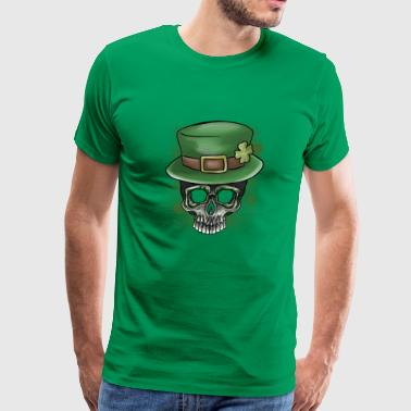 St Patricks Day Irish Skull Graphic Top Hat - Men's Premium T-Shirt