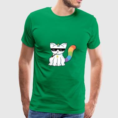 weed smoking unicorn cat - Men's Premium T-Shirt
