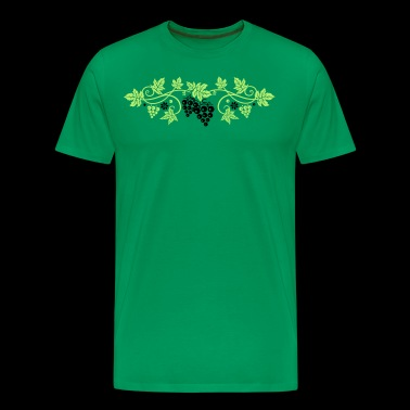 Wine grape with vine leaves, vine. - Men's Premium T-Shirt