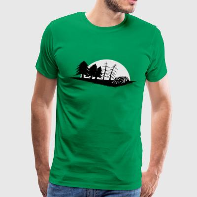 pine tree forester woodworker sawmill moon gift - Men's Premium T-Shirt