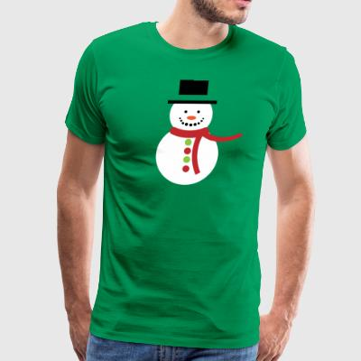 Christmas Snowman with Red Scarf - Men's Premium T-Shirt