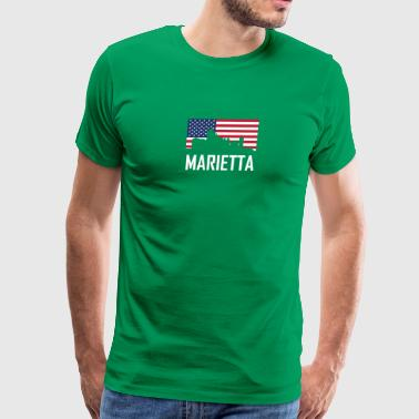 Marietta Georgia Skyline American Flag - Men's Premium T-Shirt
