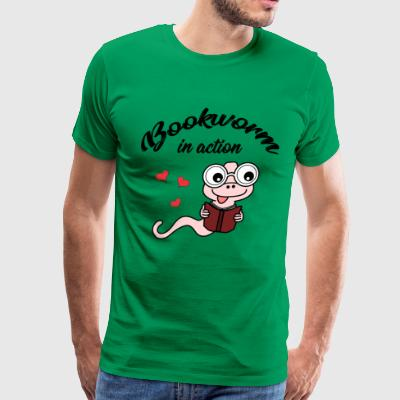 bookworm in action - reading - books - Men's Premium T-Shirt