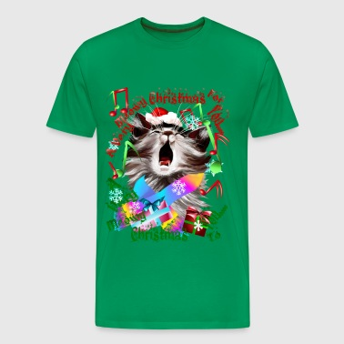 Caroling Christmas Kitty - Men's Premium T-Shirt