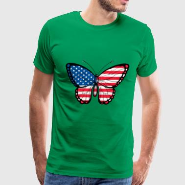 American Flag Butterfly - Men's Premium T-Shirt