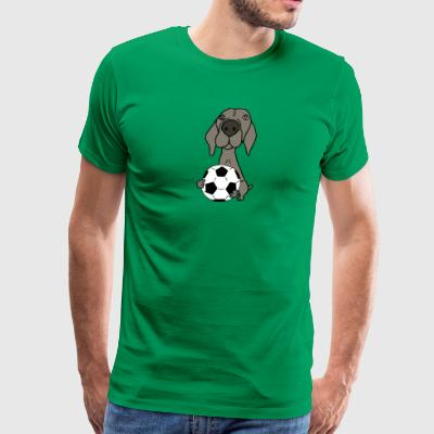 Cool Funky Weimaraner Dog Playing Soccer - Men's Premium T-Shirt