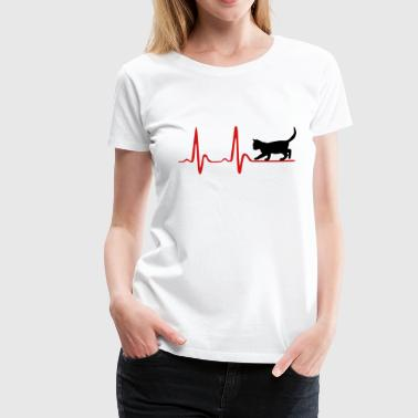 Cat - Kitten and heartbeat  - Women's Premium T-Shirt