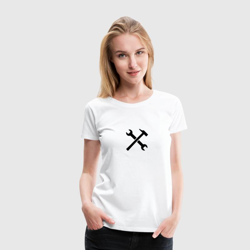 Wrench And Hammer Logo Design - Women's Premium T-Shirt