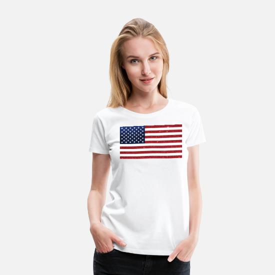 4th Of July T-Shirts - US Flag Red Blue Glitter - Women's Premium T-Shirt white