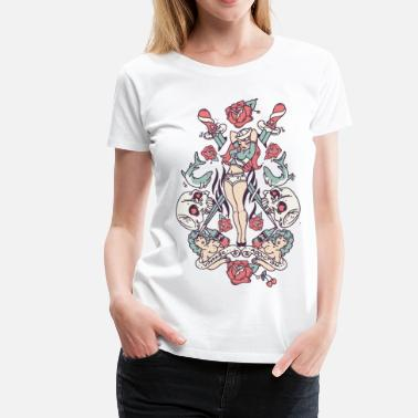 Vintage Rose Tattoo Vintage Pin-up - Women's Premium T-Shirt