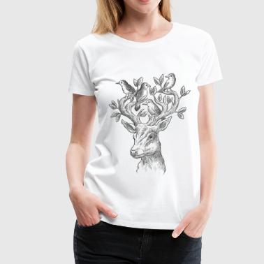 Deer, Illustration, Design, Wildlife, Style - Women's Premium T-Shirt