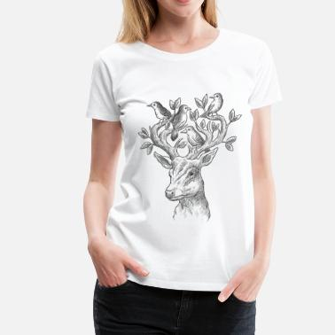 Floral Deer, Illustration, Design, Wildlife, Style - Women's Premium T-Shirt