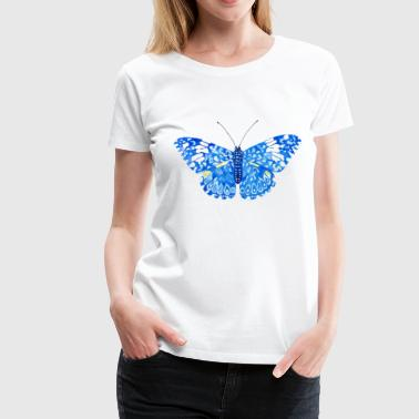 Delicate Blue Butterfly in Watercolor - Women's Premium T-Shirt