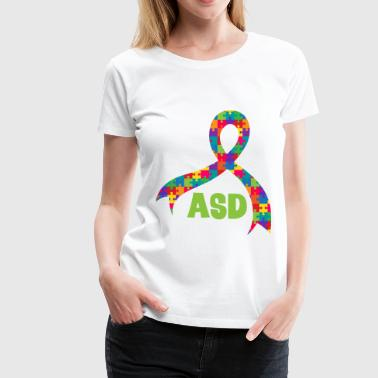 ASD Autism Puzzle Ribbon Support - Women's Premium T-Shirt