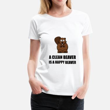 Beaver Humor Jokes Clean Beaver Happy Beaver - Women's Premium T-Shirt