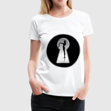 Naked Model nude through a key hole - Women's Premium T-Shirt