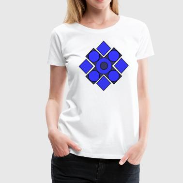 Rigid Geometric Cerulean - Women's Premium T-Shirt