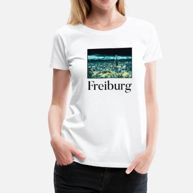 Freiburg Freiburg City Skyline Sights Silhouette Landmark - Women's Premium T-Shirt