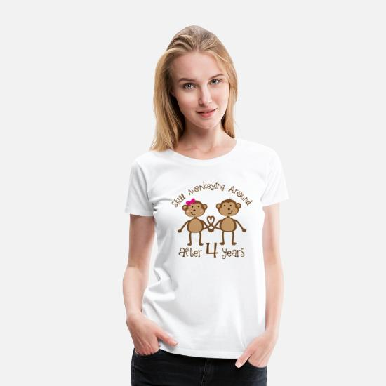 Quotes T-Shirts - 4th Anniversary Couples Gift - Women's Premium T-Shirt white