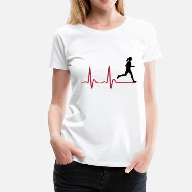 Running Heartbeat Love Running Woman, runner & heartbeat - Women's Premium T-Shirt