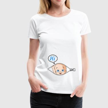 Baby looks out of the belly - Women's Premium T-Shirt