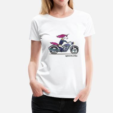 Unicorn Motorcycle Badass unicorn on a motorcycle - Women's Premium T-Shirt