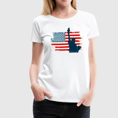 Liberty Statue USA Flag - Women's Premium T-Shirt