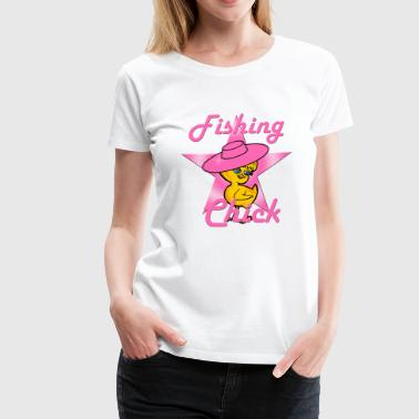Pink Fish Fishing Chick #8 Pink - Women's Premium T-Shirt