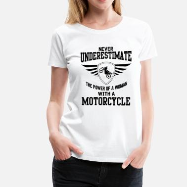 Naked Woman The power of a woman with a motorcycle - Women's Premium T-Shirt