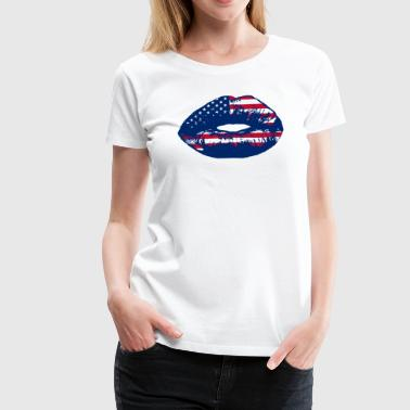 Usa Lips USA Patriotic Kiss Lip - Women's Premium T-Shirt