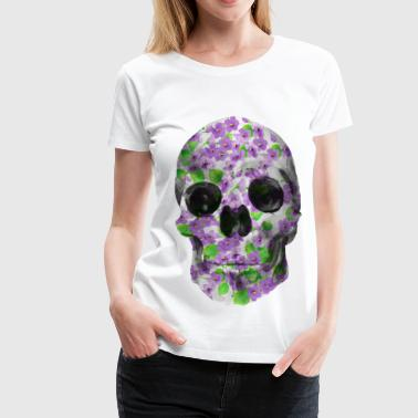 Old School Rock Floral Skull in watercolor - Violets - Women's Premium T-Shirt
