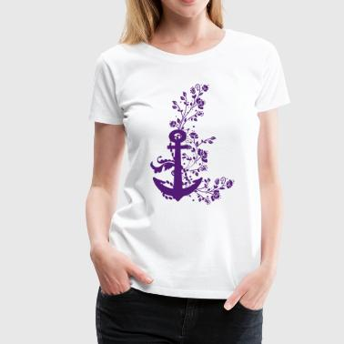 Anchor and wild flowers  - Women's Premium T-Shirt