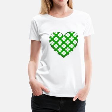 Clover White Clover Green Heart - Women's Premium T-Shirt