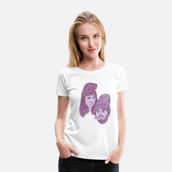 Comedy T-Shirts - Hila and Ethan from h3h3productions - Women's Premium T-Shirt white