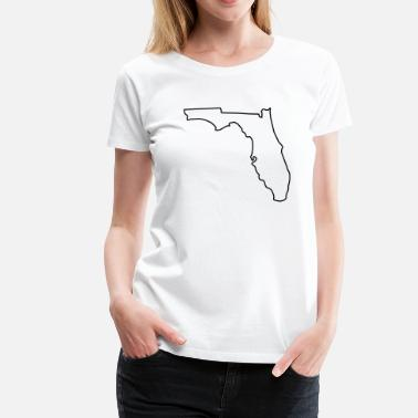 Border To Outline Florida,map,landmap,land,country,outlined,border - Women's Premium T-Shirt