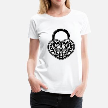 Affixed vintage heart shaped lock - Women's Premium T-Shirt