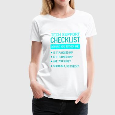 Technical Support Checklist IT Hotline PC Admin - Women's Premium T-Shirt