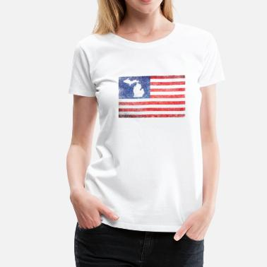 Mitten Cute Michigan Mitten USA Flag Stars Stripes - Women's Premium T-Shirt
