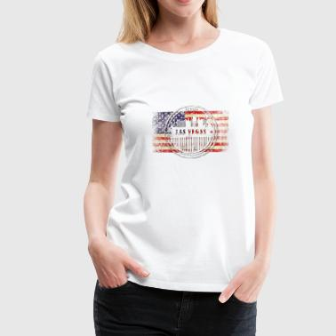 Las Vegas grunge skyline on USA flag - Women's Premium T-Shirt