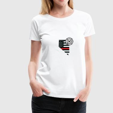 Thin Red Line Nevada Firefighter Shield Thin Red Line Flag - Women's Premium T-Shirt
