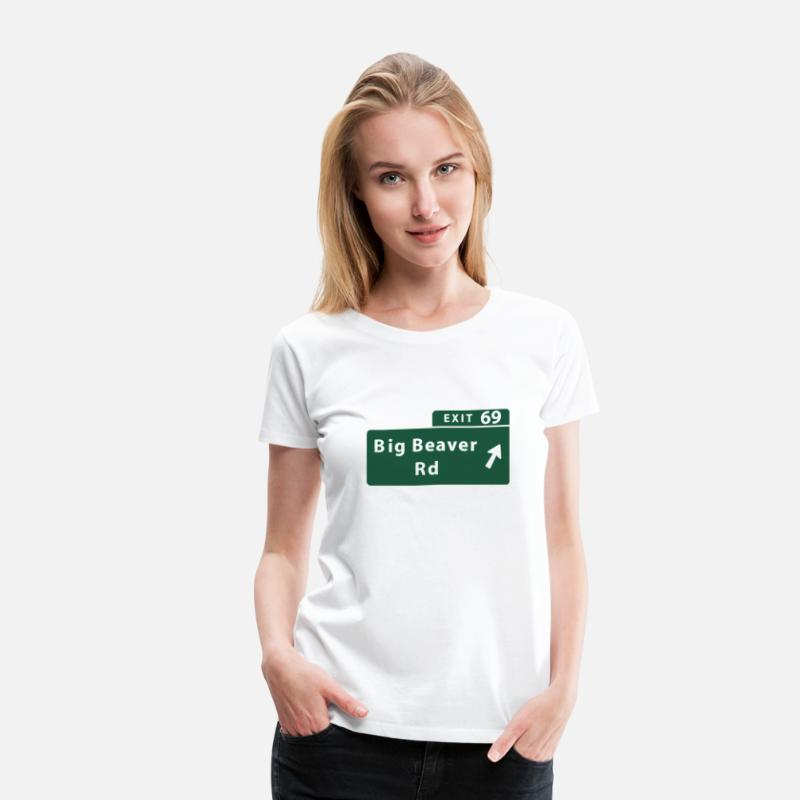 Funny Michigan T-shirts T-Shirts - Funny Big Beaver Exit 69 Sign - Women's Premium T-Shirt white