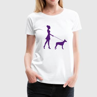 Woman walking the dog - Women's Premium T-Shirt